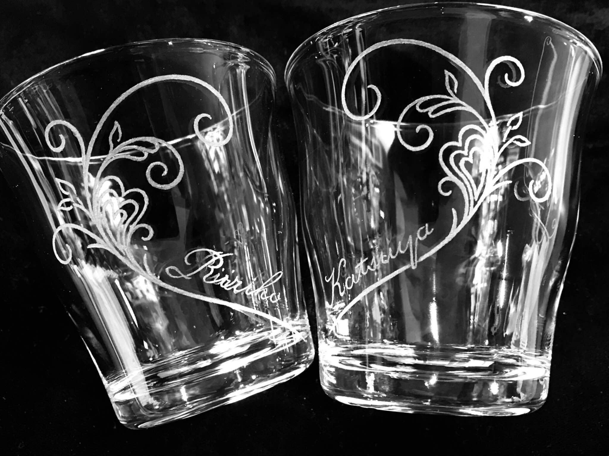 バレンタインのグラスリッツェン(手彫りガラス)