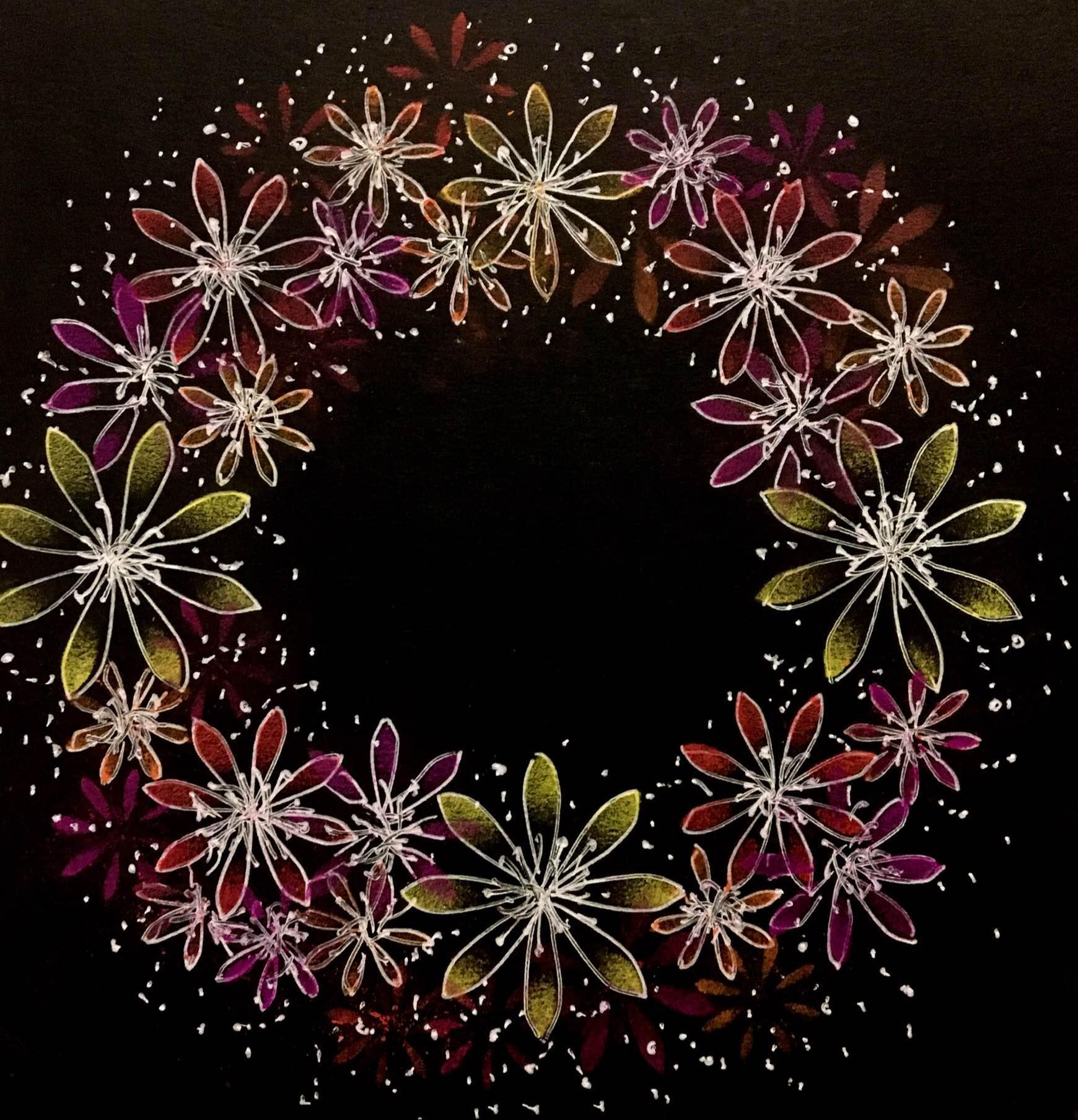 [オンライン]黒に描くパステルのお花〈ノワール・アート〉