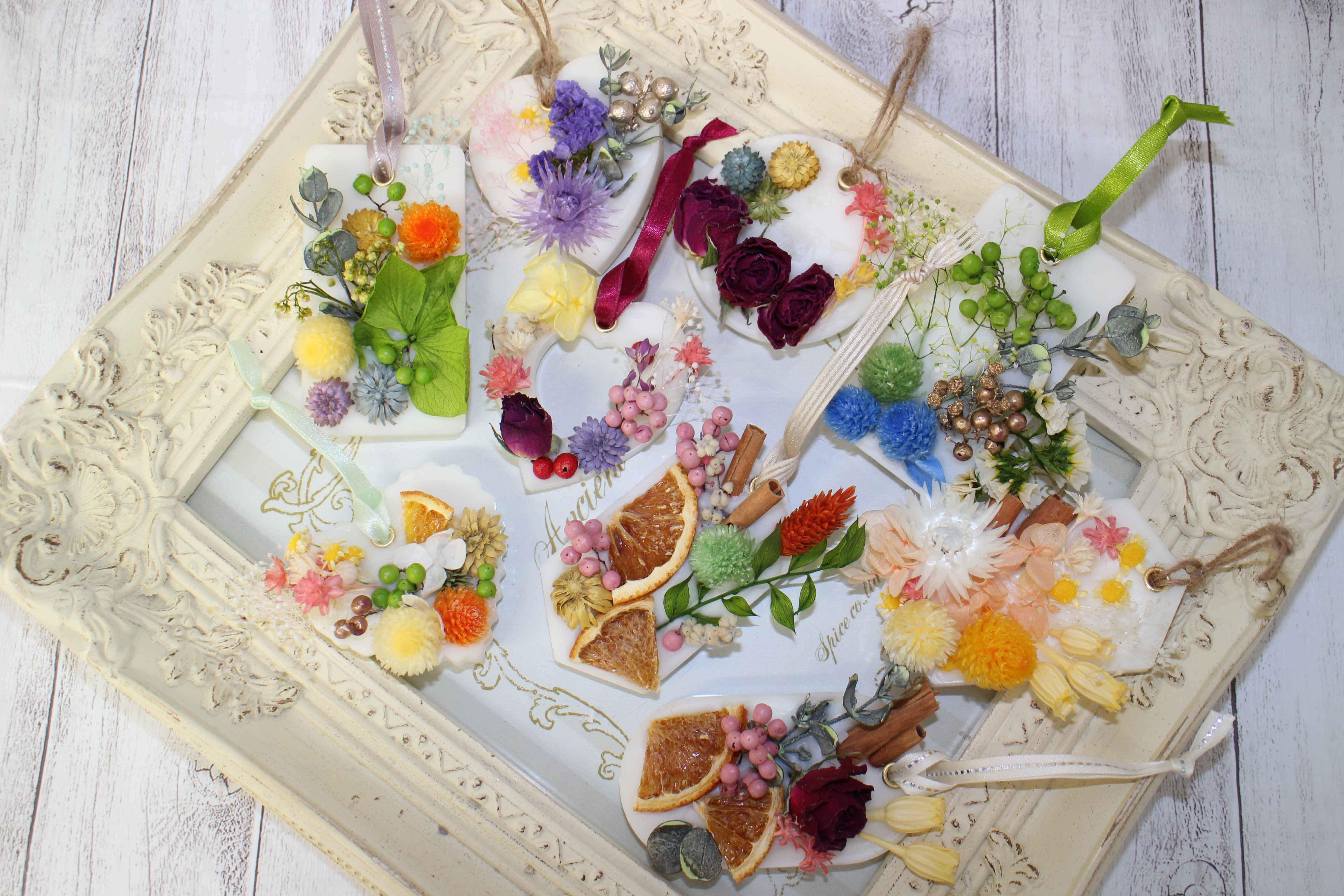 「アロマワックスサシェ」お好きな香りとお好きなお花で作る体験レッスン