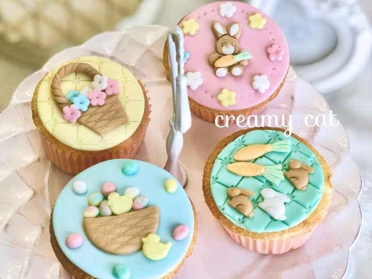イースターバニーのカップケーキデコレーション