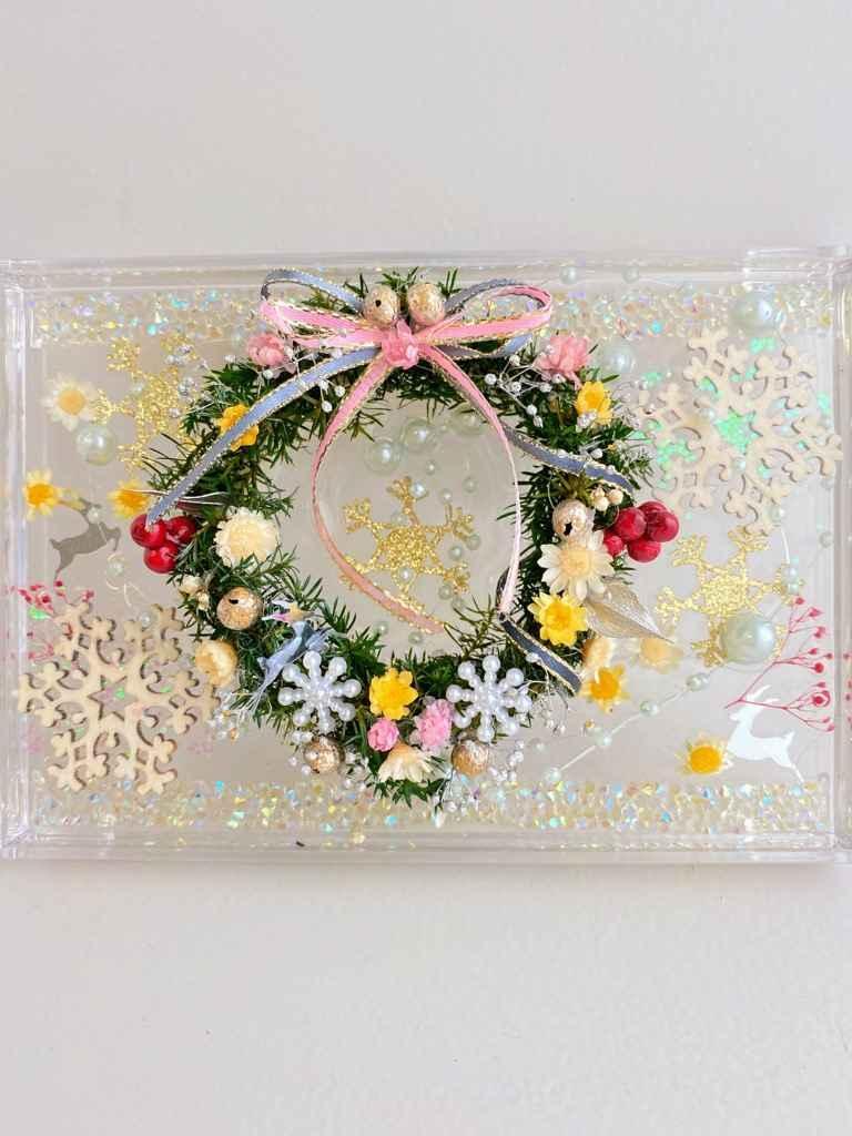 選べる花材 クリスマスプリザヒムロ杉リース固まるハーバリウムプレート