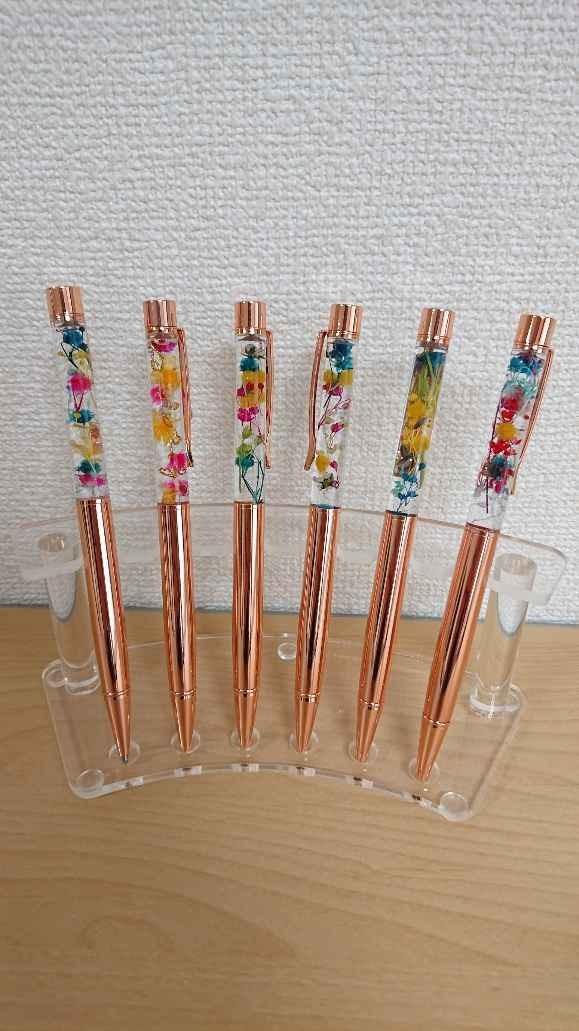 花材選べる書き心地抜群ハーバリウムピンクゴールドボールペン