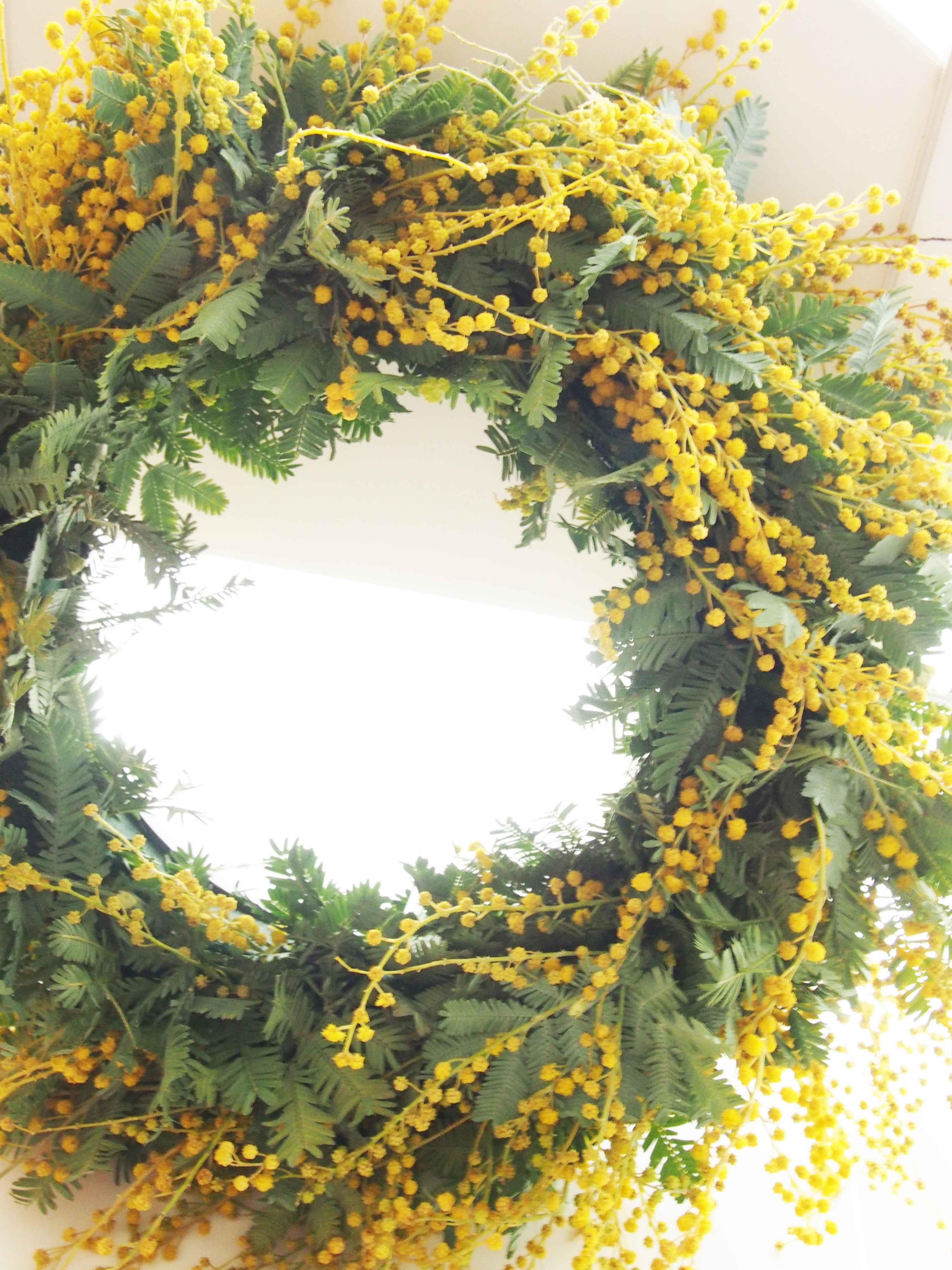 【西船橋】一足先に春を感じるミモザのリース(生花)