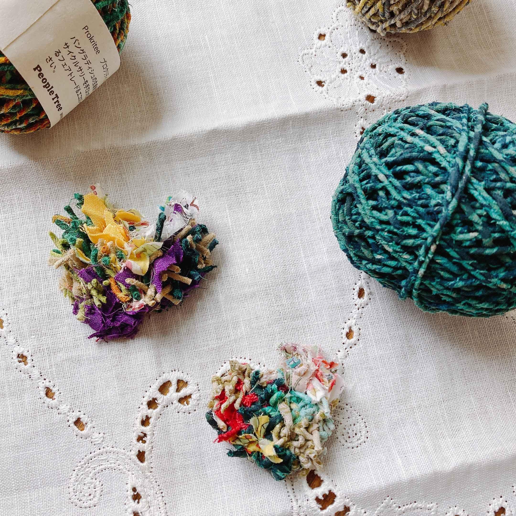 世界に一つ!リサイクルサリー×裂き布で作るアクセサリー