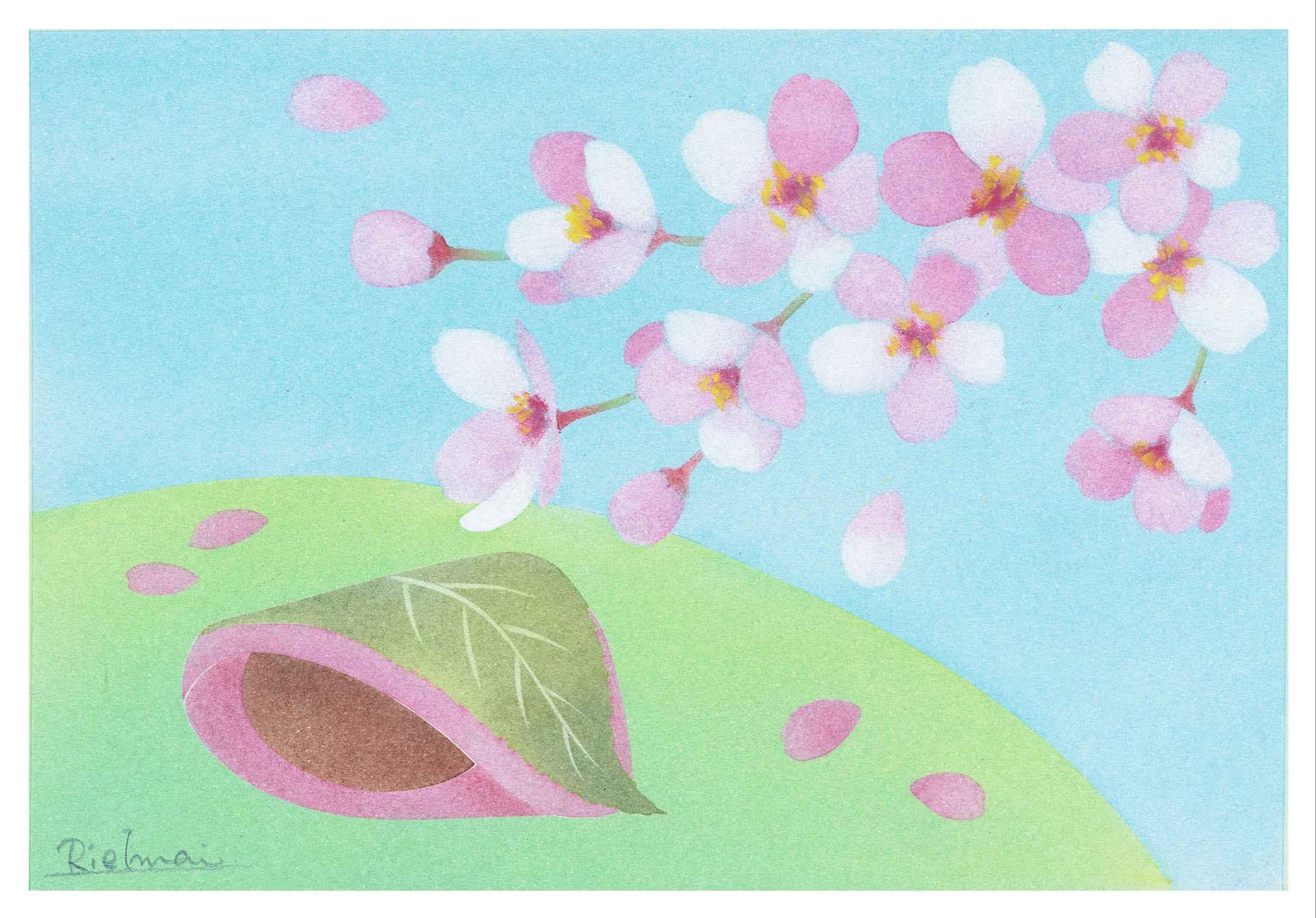 画材付 趣味で楽しむきままパステルオンライン教室「B6桜もち」