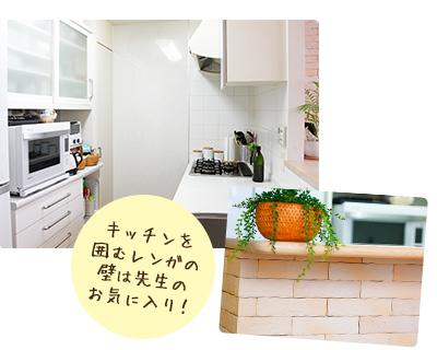 キッチンを 囲むレンガの 壁は先生の お気に入り!
